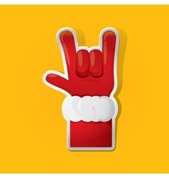Santa claus hand rock n roll icon vector