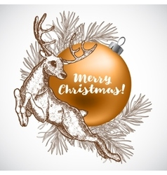 Christmas with reindeer the design vector