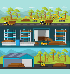 timber production horizontal banners vector image