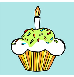Muffin with candle vector