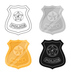 Police badge icon in cartoon style isolated on vector
