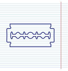Razor blade sign navy line icon on vector