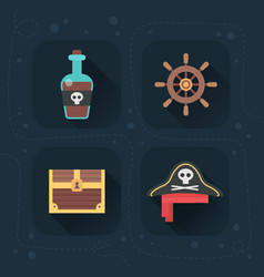 Flat pirate icons vector