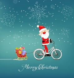 Cute santa claus on bicycle delivering christmas vector