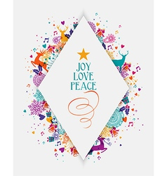 Merry christmas colorful elements greeting card vector