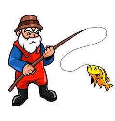 Old fisherman vector