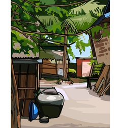 Village in the tropics vector