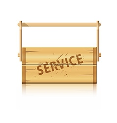 Service wooden box for various tools vector