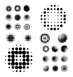 Set of abstract halftone isolated circular texture vector
