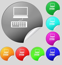 Computer monitor and keyboard icon set of eight vector