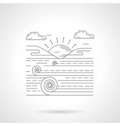 Agricultural landscape flat line icon vector image