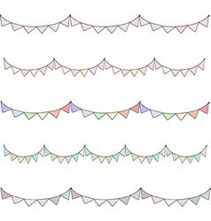 Watercolor vintage flags garlands set vector image