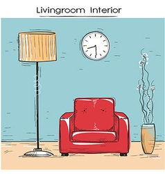Sketchy of livingroom interior with red chair vector