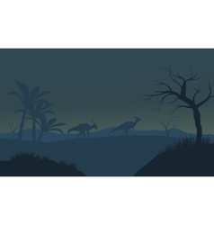 Parasaurolophus in fields scnery silhouette vector