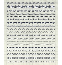 Pen Drawing Pattern Brushes Line Borders vector image