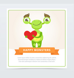 cute funny green monster holding red heart happy vector image vector image