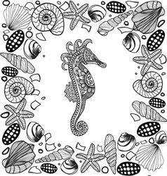 Decorative sea horse and seashells frame vector