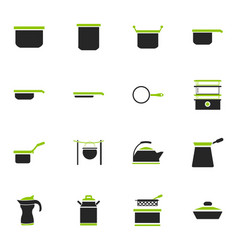 Dishes icons set vector