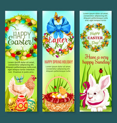 Easter holiday egg rabbit chicken banner set vector