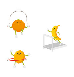 flat fruit sportive characters set isolated vector image vector image