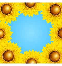 Floral frame with sunflowers vector image vector image