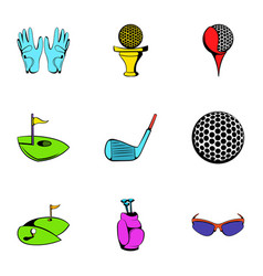 Golf field icons set cartoon style vector