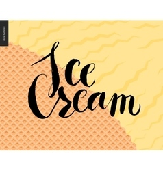 Ice cream lettering on a yellow icecream and vector