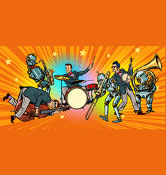 jazz rock n roll band of humans and robots vector image