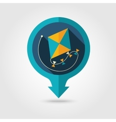 Kite pin map flat icon summer vacation vector
