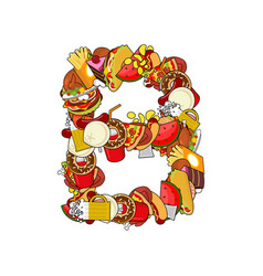 letter b food edible sign alphabet from pizza and vector image vector image