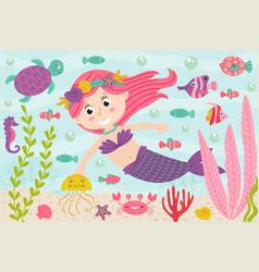 Mermaid underwater with nautical animals vector