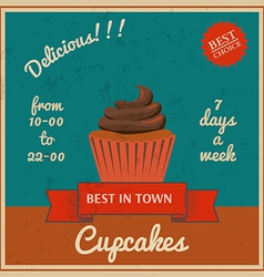 National cupcake day retro poster vector