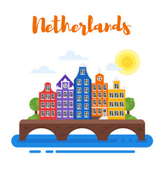 Netherlands traditional houses vector