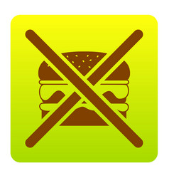 no burger sign brown icon at green-yellow vector image