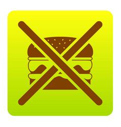 No burger sign brown icon at green-yellow vector
