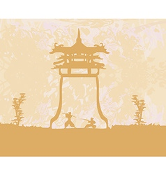 old paper with Samurai silhouette vector image