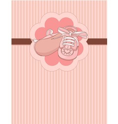 pink baby shoes place card vector image