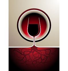 Red wine icon with the glass as the vine vector image vector image