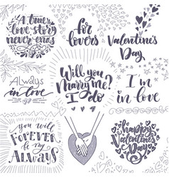 set of happy valentine s day design for holiday vector image
