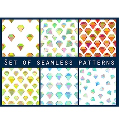 Set of seamless patterns with colorful diamonds vector