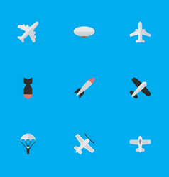 Set of simple airplane icons elements plane vector