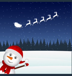 Snowman escorts santa claus in the woods vector