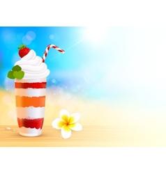 Strawberry creamy dessert cocktail on blurred vector