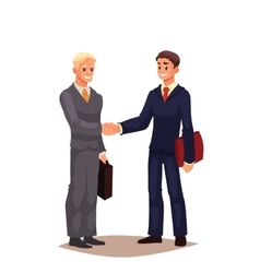 Two businessmen in suits shaking hands vector image vector image
