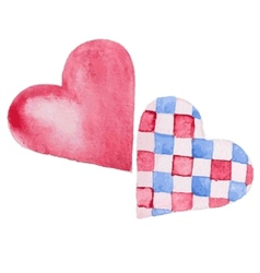 two hearts watercolor vector image vector image