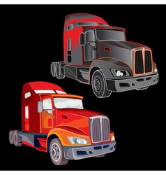 Two trucks on a black background vector image