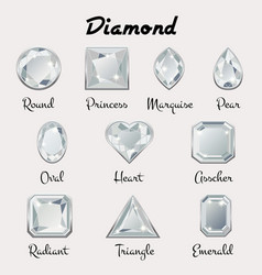 types of cuts of diamond vector image