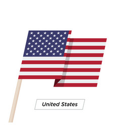 United states ribbon waving flag isolated on white vector