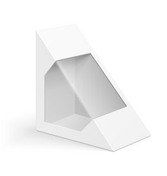 White cardboard triangle box packaging for vector