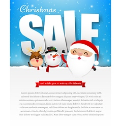 Merry christmas sale text with santa claus eps10 vector